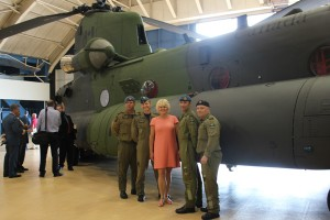 MP Gallant with airmen from 450 Tactical Helicopter Squadron