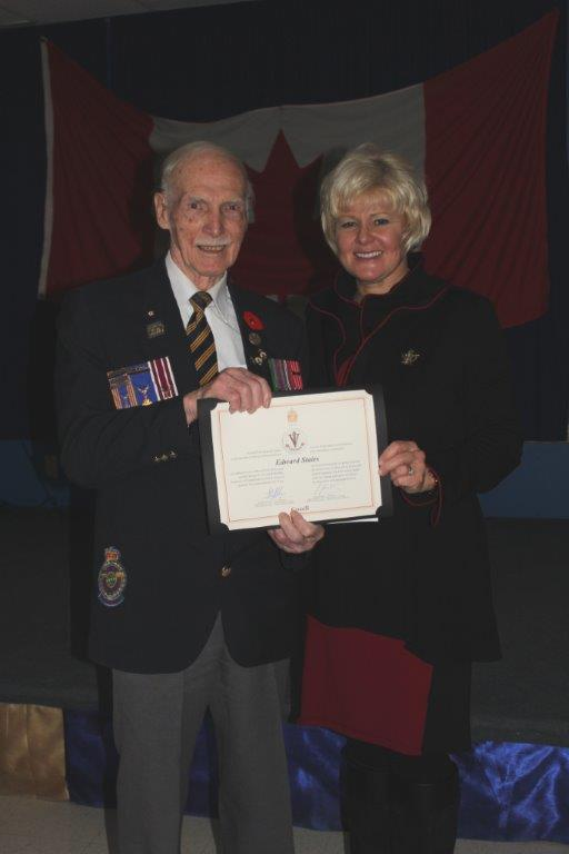 January 30 2015 - MP Gallant Presents Ed Stairs with WWII Veteran Tribute Pin