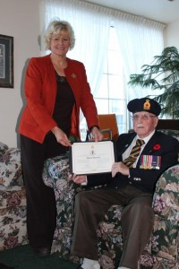 February 20 - MP Gallant Presents Shirley Olmstead with WWII Veteran Tribute Pin