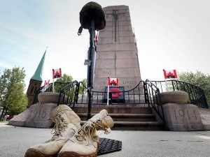 A Soldiers Cross at the War Memorial in Ottawa, Ontario (Photo Credits, Jason Kruk, Windsor Star)