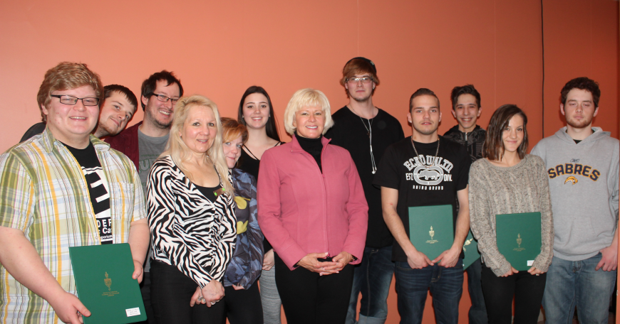 Pictured (L-R): Adam St. Pierre, Kyle Pelletier, John Black, Skills Line Program Coordinator Sharon Leskinen, Stephanie Ryan, Olivia Davidson, MP Cheryl Gallant, Austin Taylor, Nick Fortin, Joshua Lagace, Megan Lamarche, and Thomas Mackay