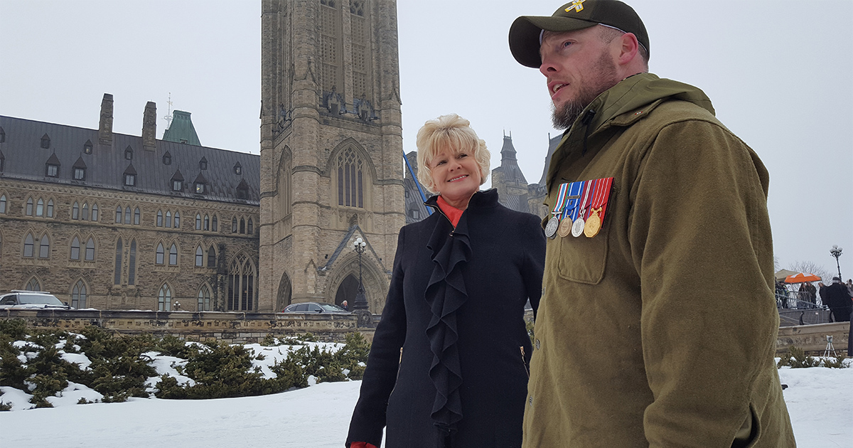 "Cheryl Gallant joins Colin Saunders, veteran and ""Left In the Cold"" protest organizer"