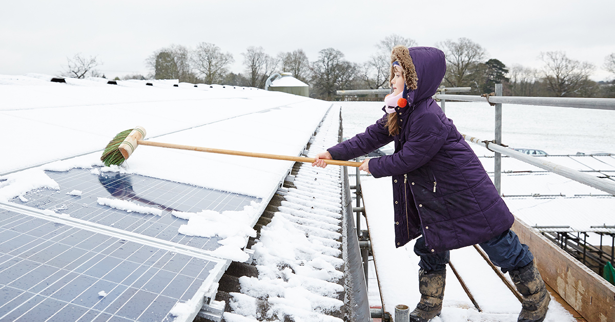 Young girl cleaning snow covered solar cells
