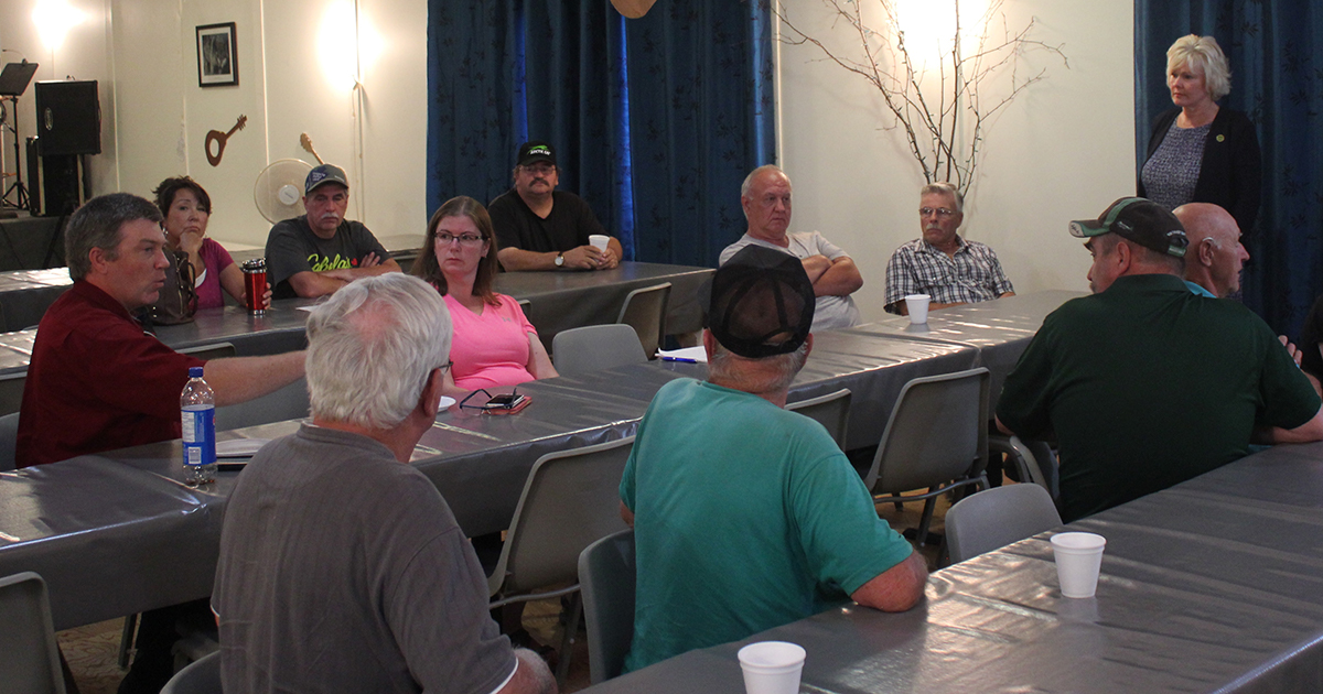 Tim Schison raises concerns at Madawaska Valley Fish & Game Club meeting with MP Cheryl Gallant