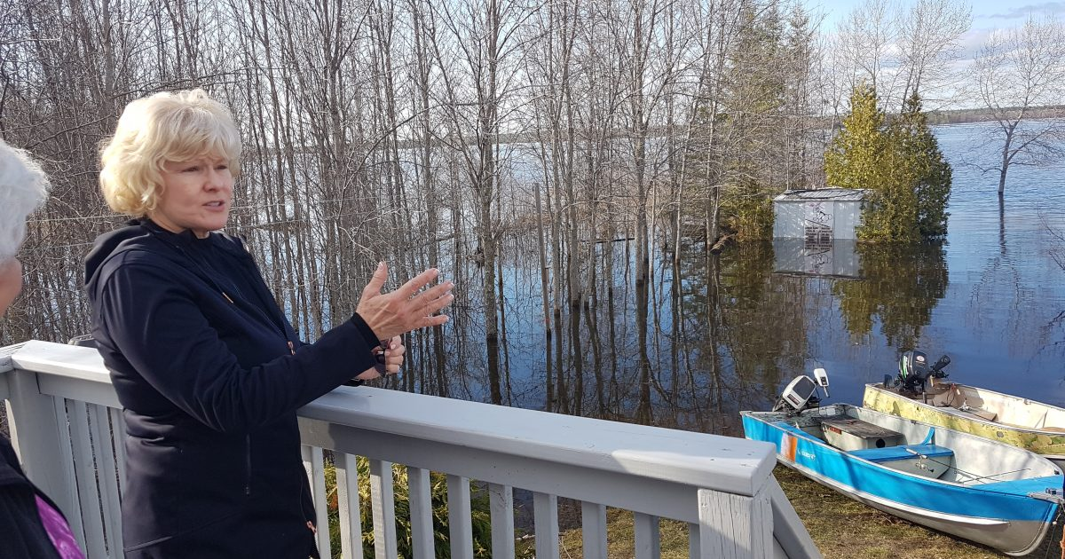 MP Gallant inspecting the extent of the Ottawa River flooding in Horton.