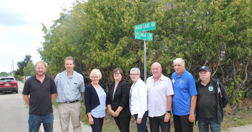(L-R) Operations Supervisor Mike Phillips, MP Cheryl Gallant, Operations Manager Hilary Kutchkoskie, Treasurer Amanda Hudder, Mayor Kim Love, Councillors Mark Willmer, David Shulist, Carl Bromwich