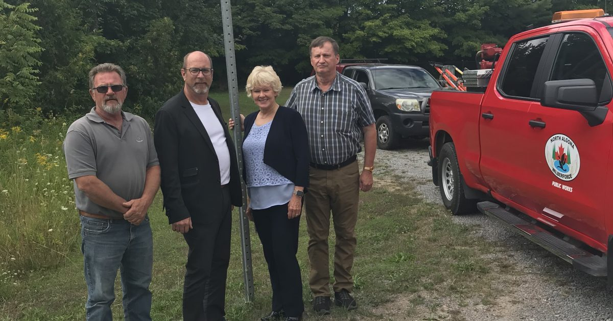 Pictured L to R: Perry Ashick - Public Works Operations Co-ordinator, James Brose – Mayor, North Algona Wilberforce Township, MP Cheryl Gallant, Andrew Sprunt - CAO / Operations Manager