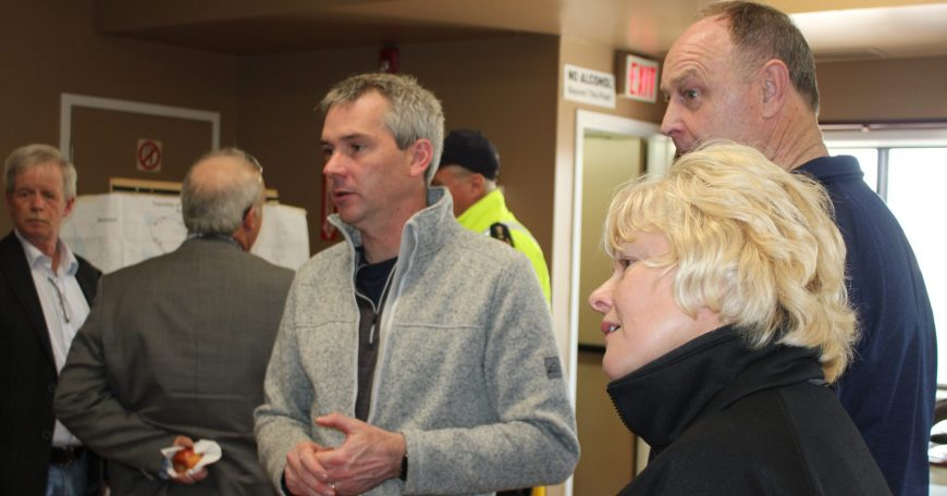 Pictured (L-R): Michael Moore, Mayor of Whitewater Region (far left side), Jonathan Wilker, Fire Chief for Whitewater Region, Hon. John Yakabuski, MPP, and MP Cheryl Gallant at the Westmeath Community Centre, the flood command centre for Whitewater Region during the Spring 2019 floods
