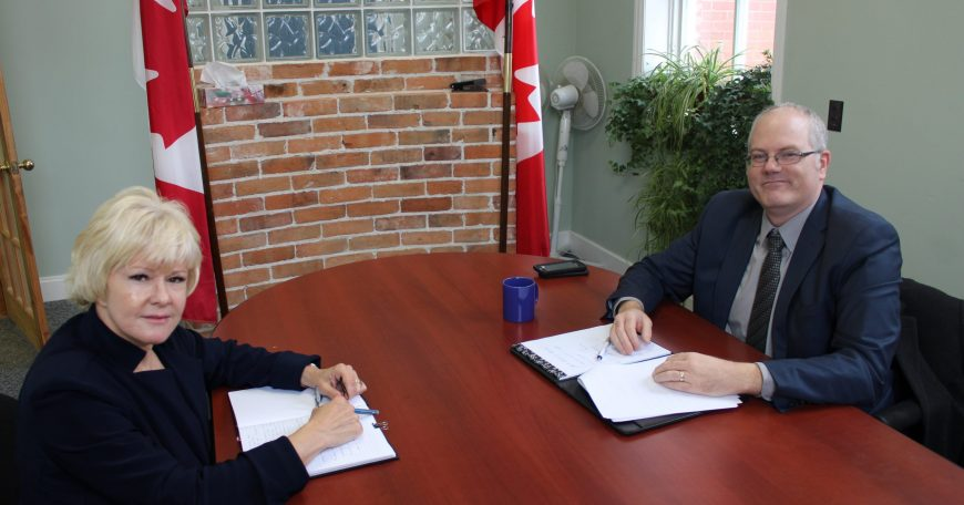 Cheryl meets with ScotiaBank Mike Brydges about Beachburg branch closure